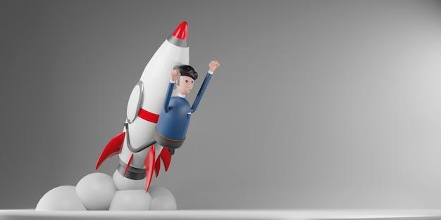Zakenman vliegen op een raket flying