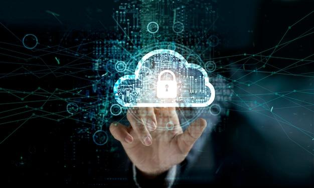 Zakenman wat betreft wolk met hangslotpictogram op netwerkverbinding