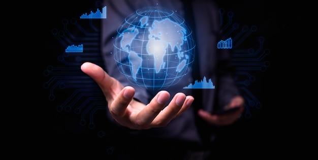 Zakenman werk investeren aandeel winst maken geld verdienen over de hele wereld.