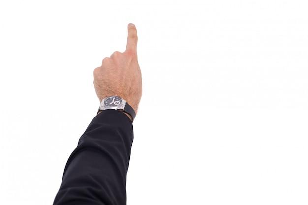 Zakenmanhand met horloge die iets richten