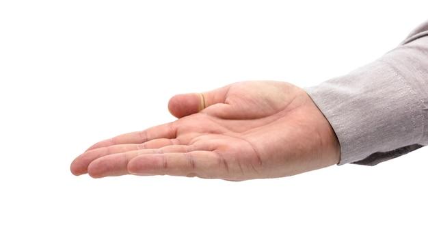 Zakenmanhand op geïsoleerde witte achtergrond in gebaar om iets te ontvangen of aan te bieden