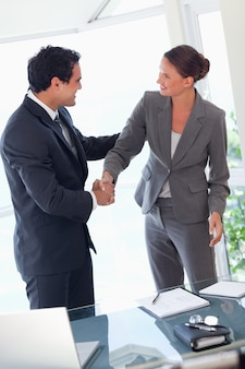 Zakenpartner handen schudden na het sluiten van een deal