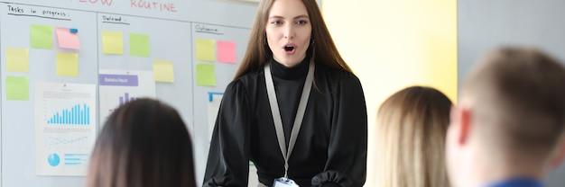 Zakenvrouw die informatie uitlegt aan luisteraars op een schoolbord