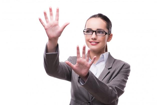 Zakenvrouw hand in hand geïsoleerd op wit