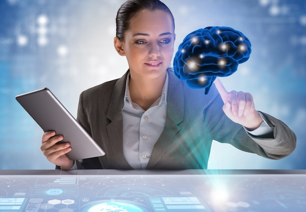 Zakenvrouw in kunstmatige intelligentie