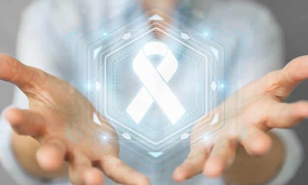 Zakenvrouw met behulp van digitale lint kanker-interface, 3d-rendering