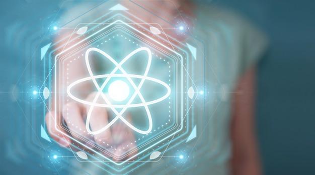 Zakenvrouw met behulp van moderne molecuul structuur