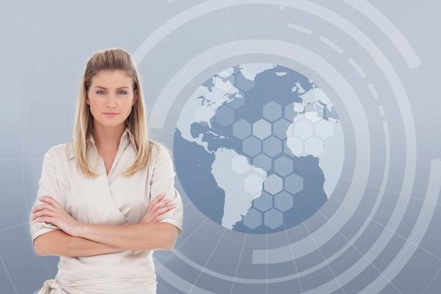 Zakenvrouw met een globe illustratie