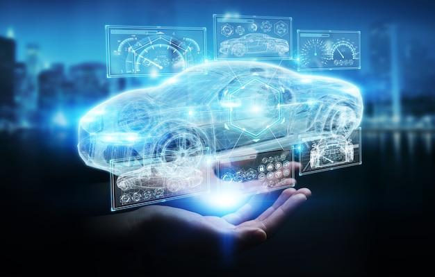 Zakenvrouw moderne slimme auto-interface