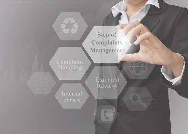 Zakenvrouw presentatie-element van step of complaints management.