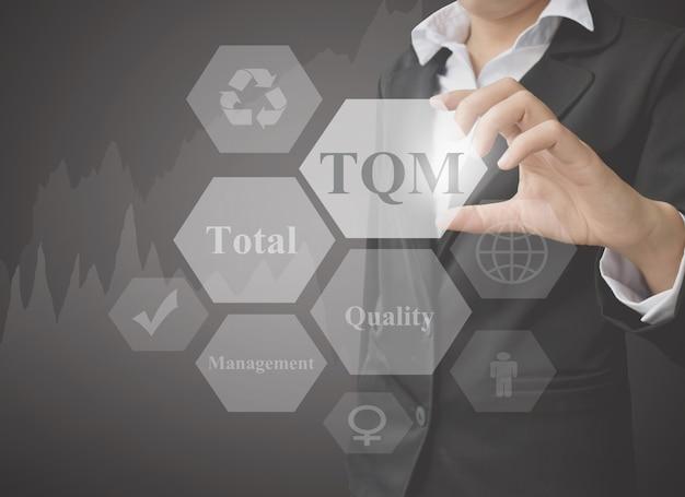 Zakenvrouw presentatie-element van total quality management.