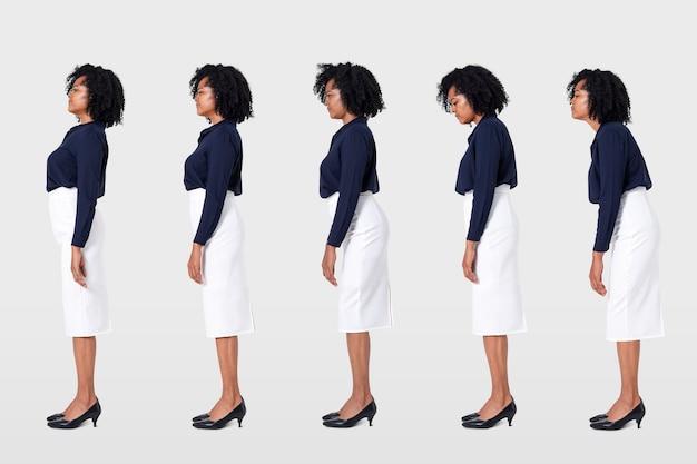 Zakenvrouw slechte houding kantoor syndroom gezondheid op de werkplek campagne