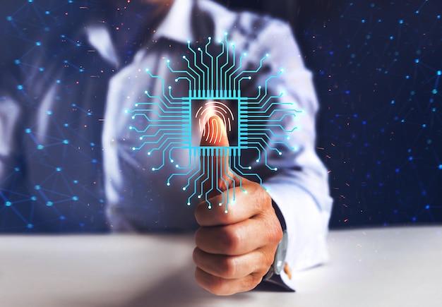 Zakenvrouw vingerafdruk biometrische identiteit vingerafdruk scan beveiligingstoegang met biometrie