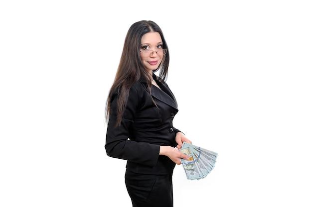 Zakenvrouw, zakelijk voorstel, de werking van geld en valuta