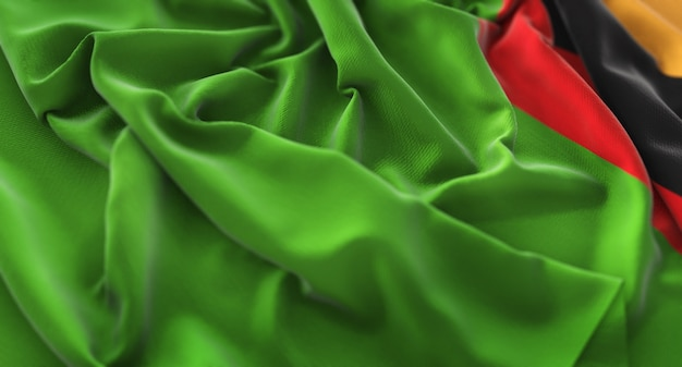 Zambia flag ruffled mooi wave macro close-up shot