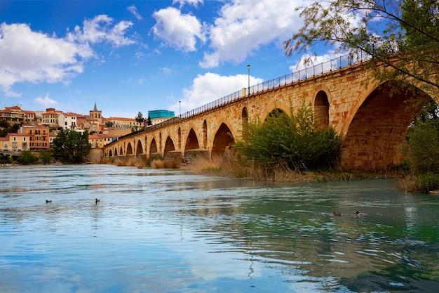 Zamora puente de piedra-brug op duero-rivier