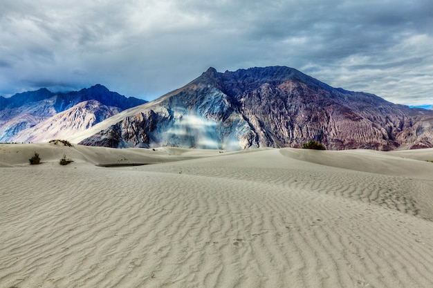Zandduinen in de himalaya. hunder, nubra-vallei, ladakh