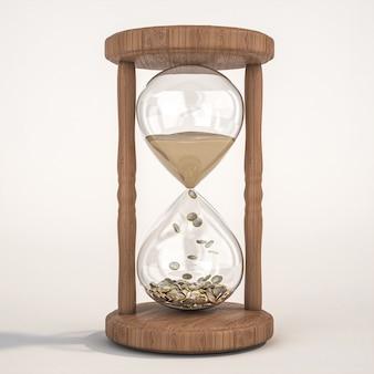 Zandloper met zand en eurogeldmunten. tijd en geld concept. 3d render.
