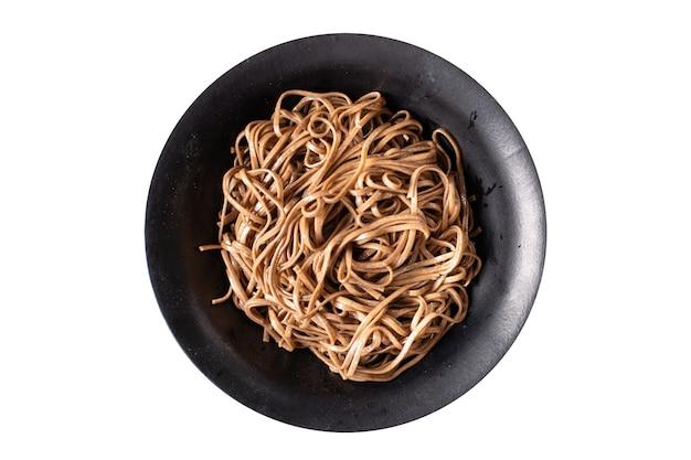 Zaru soba boekweit noedels soba verse portie maaltijd snack op tafel kopieer ruimte voedsel achtergrond