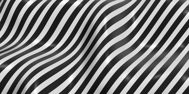 Zebra patroon wuivende golf achtergrond 3d illustratie