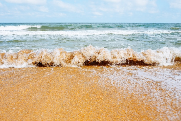 Zee golf loopt op een zandstrand.