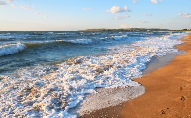 Zee golfonderbreking op kustlijn