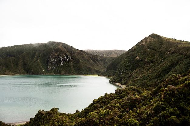 Zee omgeven door bomen en beboste bergen