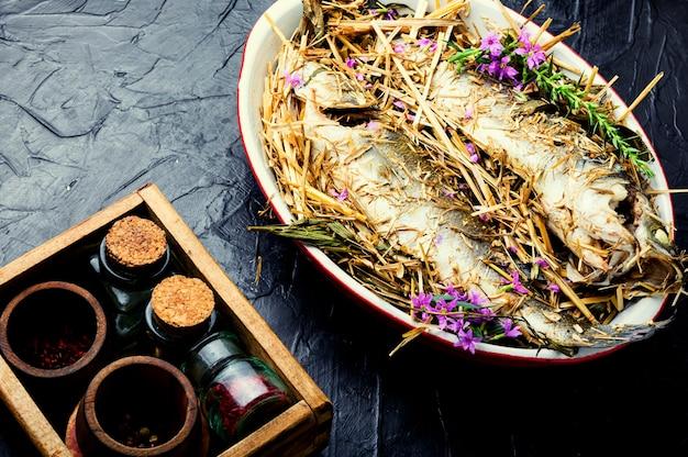 Zeebaars vis gebakken in de oven