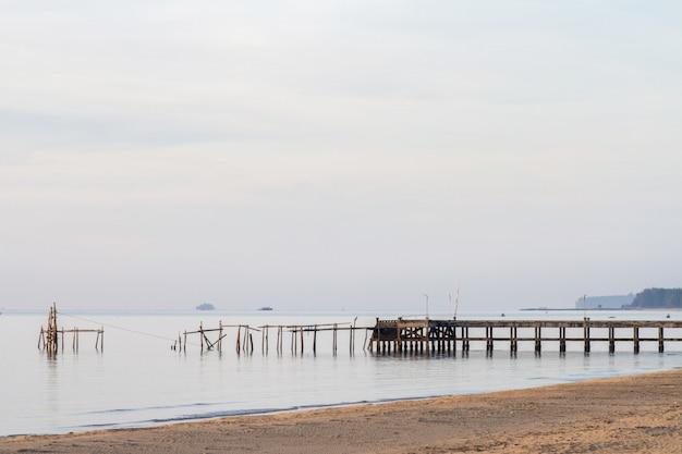 Zeegezicht en strand met de brug op zomerochtend