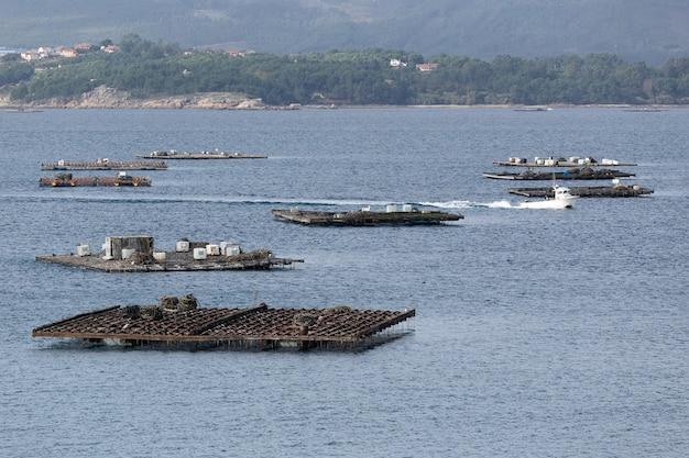 Zeegezicht van een boot die tussen mosselplatforms vaart, batea genaamd. marien landschap. rias baixas, galicië, spanje
