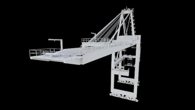 Zeehavenkraan op een zwarte achtergrond. 3d-rendering.
