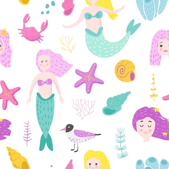 Zeemeerminnen naadloze patroon in kinderachtige stijl.