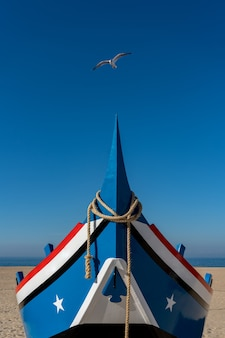 Zeemeeuw die over de boeg van een boot vliegt die is afgemeerd aan het strand van nazare in portugal