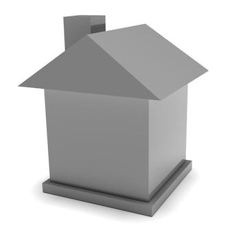 Zeer eenvoudig grijs huis dat op wit wordt geïsoleerd