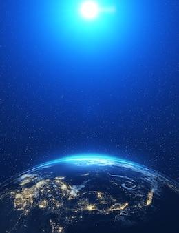 Zeer gedetailleerde epische maan boven de skyline van de wereld