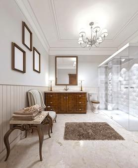 Zeer mooie badkamer in een eigentijdse engelse stijl. grote doucheruimte en bruin meubilair. 3d render.