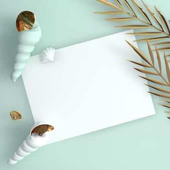 Zeeschelp en gouden tropische palmbladeren