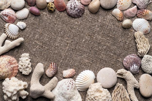 Zeeschelpen en kiezelstenen bij het ontslaan.