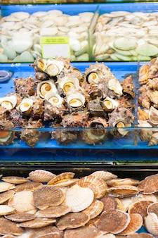 Zeeslakken en sint-jakobsschelpen op de vismarkt in seoul, korea
