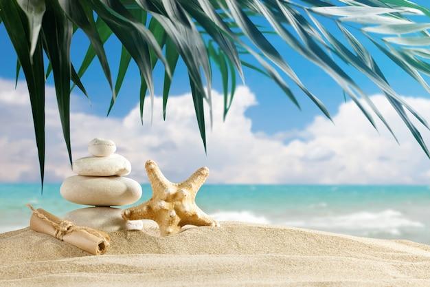 Zeester en zee stenen worden geplaatst op de achtergrond van prachtige zee landschap.