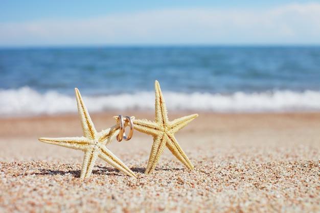 Zeester met trouwringen op het strand
