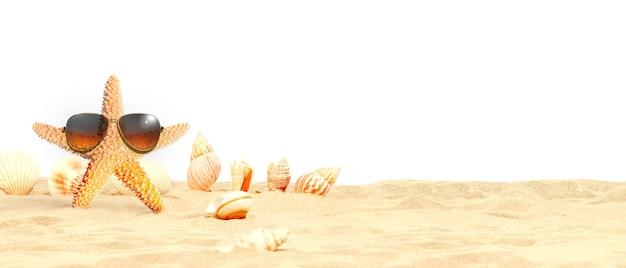 Zeester met zonnebril op het zonnige strand. zomer vakantie achtergrond