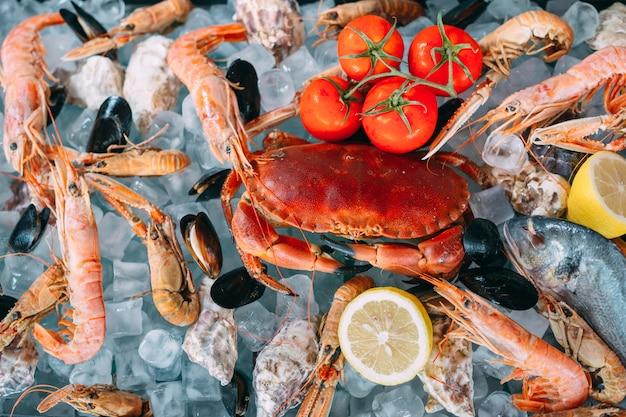Zeevruchten op ijs. krabben, steur, schaaldieren, garnalen, rapana, dorado, op wit ijs.