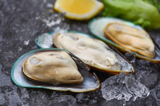 Zeevruchten, schaaldieren, gestoomde mosselen