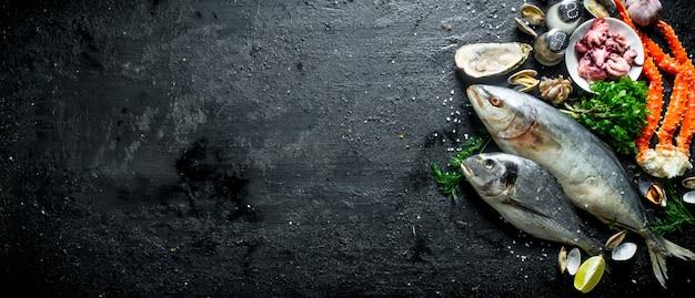 Zeevruchten. verse vis, baby-octopussen, krab, oesters met knoflook, kruiden en limoen.