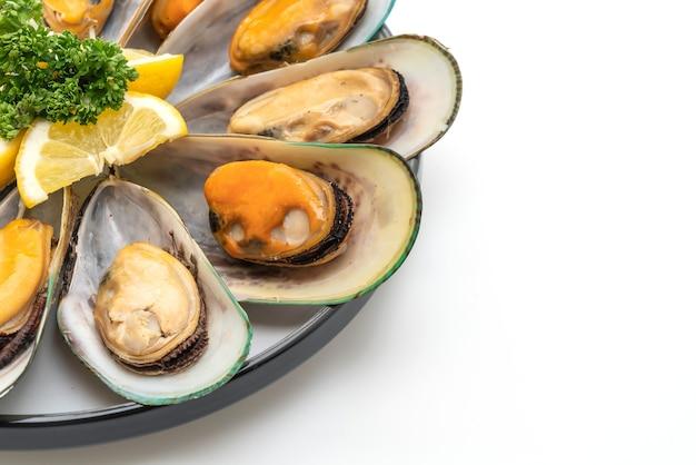 Zeevruchtenmosselen met citroen en peterselie die op witte achtergrond worden geïsoleerd