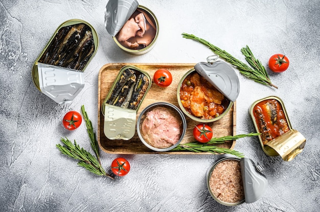 Zeevruchtensnacks - ingeblikte sardines, mosselen, octopus, zalm en tonijn. grijze achtergrond.