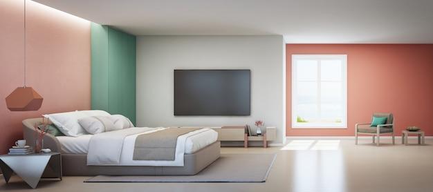 Zeezicht slaapkamer en roze woonkamer van luxe zomer strandhuis met tweepersoonsbed in de buurt van houten kast.