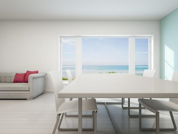 Zeezicht woonkamer, strandhuis met wit vintage interieur.