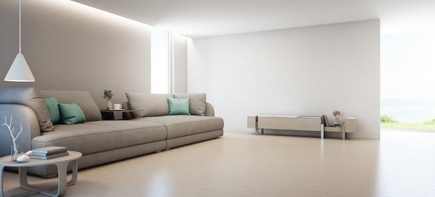 Zeezicht woonkamer van luxe zomer strandhuis met tv-standaard en houten kast in de buurt van grote bank.